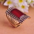 Специальное конструкторское турецкой ювелирные изделия красный большое кольцо старинные антикварные позолоченные площади женщинам-кольца размер 9 ретро анель бижутерии продажа