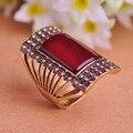 Diseño especial de la joyería turca roja grande del anillo Antique Vintage Gold Plated mujeres cuadrados anillos tamaño 9 marca Retro Anel Bijoux venta