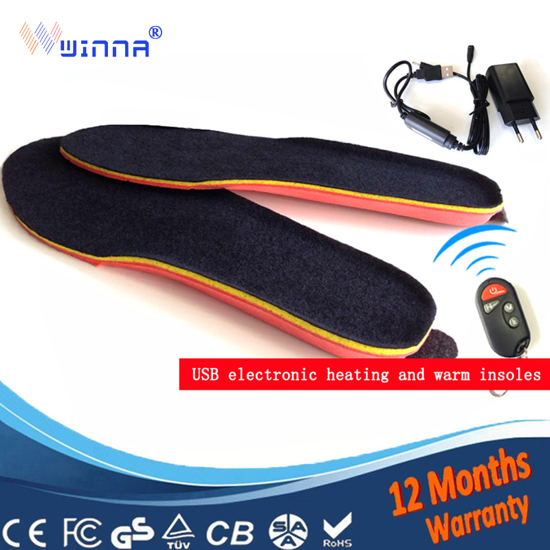 NEW USB MEN INSOLES Electric Foot Warmer Remote Control Thermal Insoles 1800mAh BLACK Men s 41