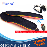 NEW USB MEN INSOLES Electric Foot Warmer Remote Control Thermal Insoles 1800mAh BLACK Men's 41-46#Buy Direct From China Factory
