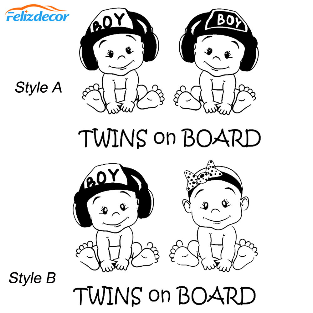 19*15 Lovely Twins On Board Decal Car Stickers Cute Safety Sign Baby On Board For Car Window Vinyl Cars Decal Hot Selling L1027