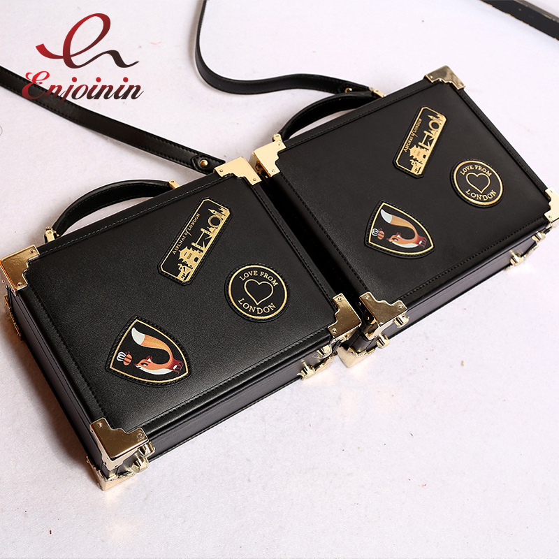 New Fashion retro design badge fox real leather mini box modeling handbag shoulder bag ladies purse mini messenger bag flap database modeling and design
