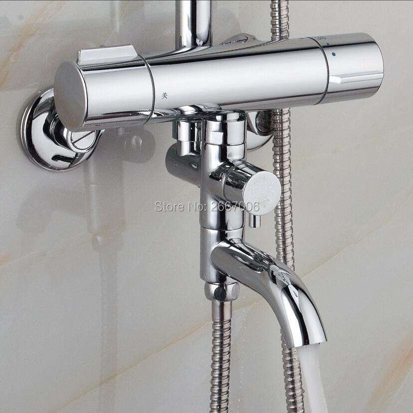 Free shipping Bathroom Mixing valve core waterfall bathtub thermostatic faucet Wall Mounted Waterfall Bath Shower Mixer ZR978 dual handle thermostatic faucet mixer tap copper shower faucet thermostatic mixing valve bathroom wall mounted shower faucets