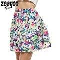 Zeagoo Mulheres Impressão Saia de Moda Meados de Cintura Floral A-Line Curto Mini Saia Mulheres Primavera Outono Casuais Plus Size A-linha Saia