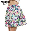 Zeagoo Print Skirt Women Fashion Mid Waist Floral A-Line Short Mini Skirt Spring Autumn Women Casual Plus Size A-Line Skirt