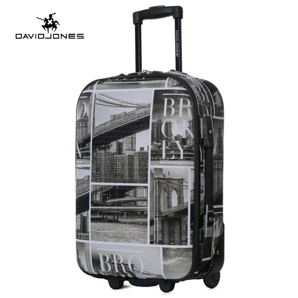 DAVIDJONES roue voyage valise chariot sac fixe femmes grand bagages sac fille vintage roulant valise boîte 24 pouce main tronc