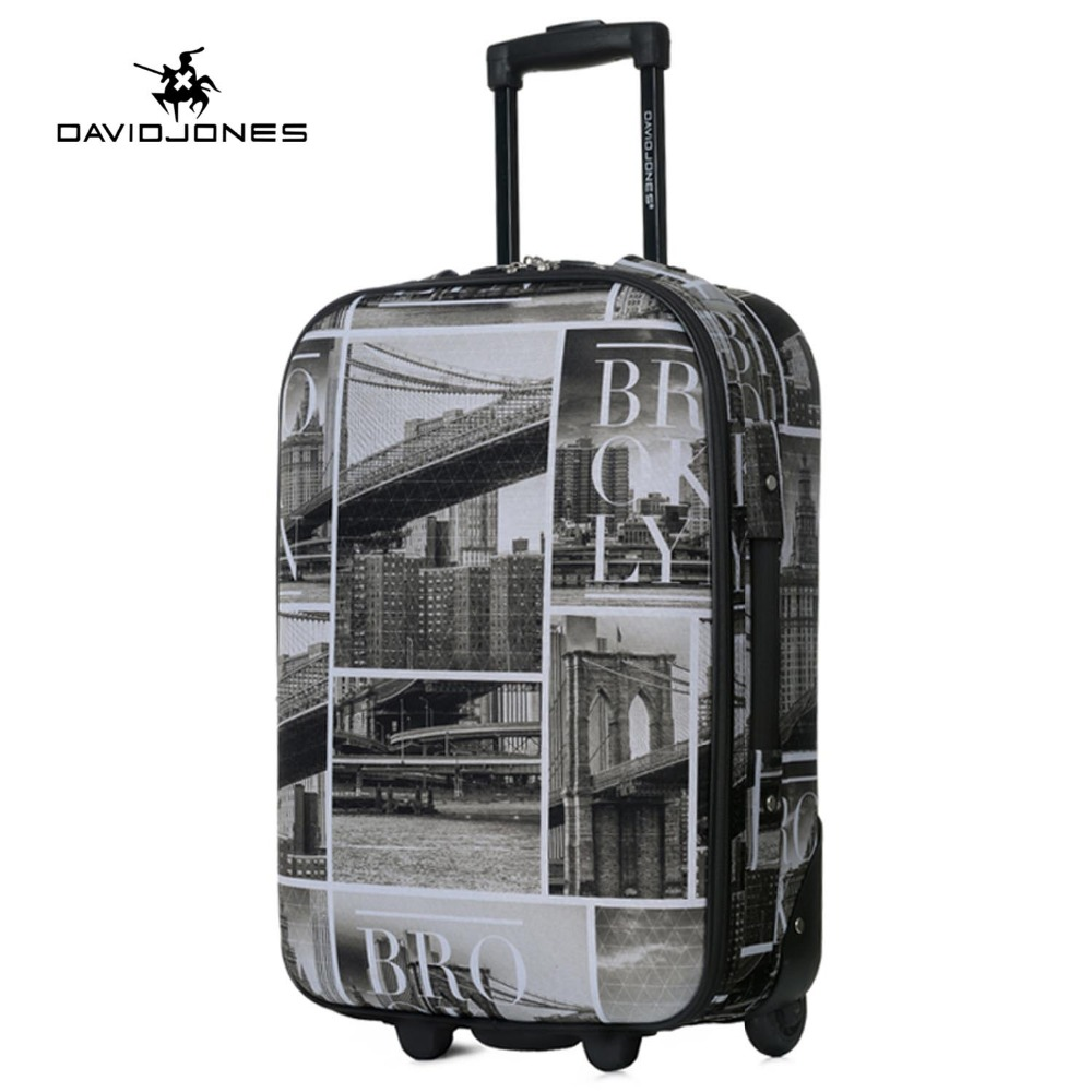 DAVIDJONES wheel travel suitcase trolley bag fixed women large luggage bag girl vintage rolling suit case box 24 inch hand trunk