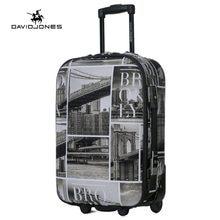 17076f9b4fc DAVIDJONES wiel reiskoffer trolley tas vaste vrouwen grote bagage tas  meisje vintage rolling pak case box