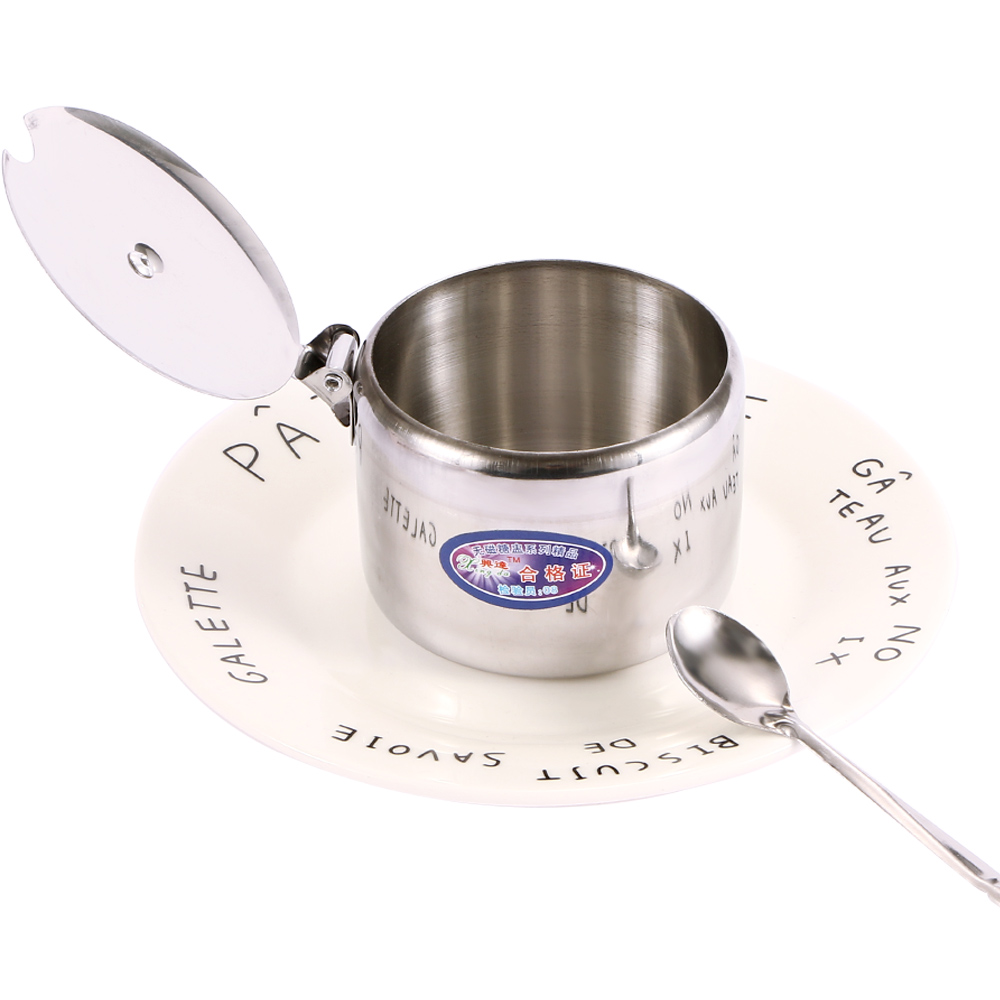 Mini Stainless Steel Kichen Salt Storage Pot Jars Tea Sauces Coffee Jam Storage Pot with Lid Spoon