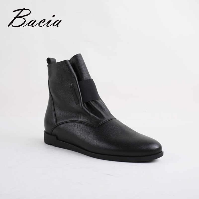 ... Bacia модные однотонные женские ботильоны на плоской подошве,  повседневная кожаная обувь ручной работы с ... 74d6bbb6b5f