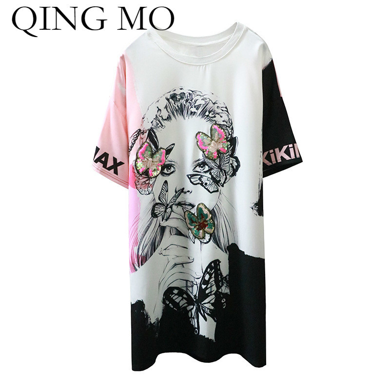 QING MO 2018 Print Dress for Women Character Pattern Dress with Sequins Short Sleeve Summer Clothes Mini Shirt Dress ADQ145