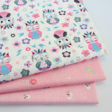 Pink Owl Cotton Twill Fabric Kids 100% Cloth for DIY sewing Upholstery Bed Quilting Material