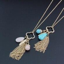 цены на Fanqieliu Gold Clover Rhinestone Necklace Long Sweater Chain For Women Fashion Natural Stone Tassel Pendant Necklace FQL101080  в интернет-магазинах