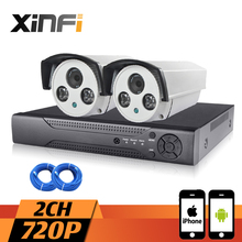 XINFI 2CH HDMI NVR System 720P HD outdoor waterproof Surveillance Camera System 1080P CCTV kit