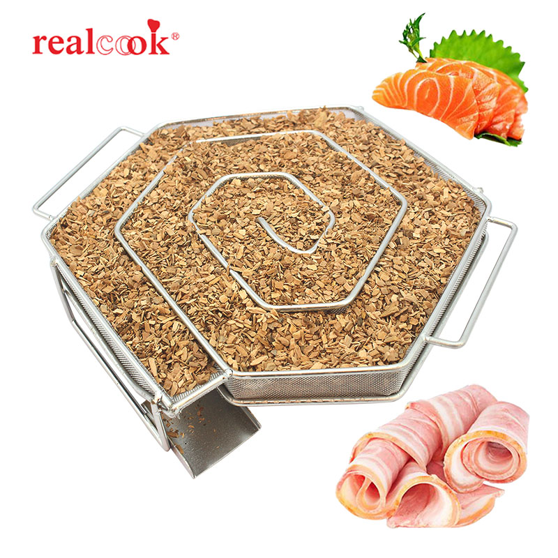 Realcook BBQ Charcoal Cold Smoke Generator Box Hexagon Wood Chips Meshes Smoker For Bacon Fish Smoking Cooking Barbecue Tools