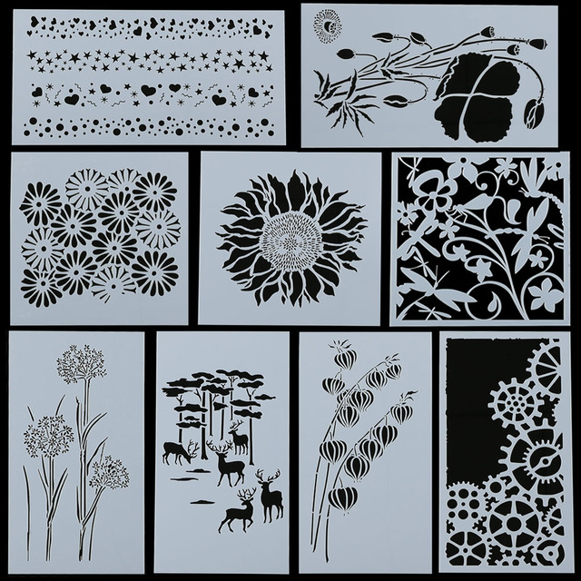 1pc Or 1set Beautiful Plant Flower Reusable Stencil Airbrush