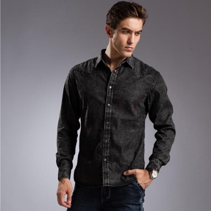 fb43733f74 Blue Denim Shirt Men 100% Cotton Breathable Long Sleeve Mens Denim Shirt  Slim Fit High Quality Plus Size Jeans Shirt A690