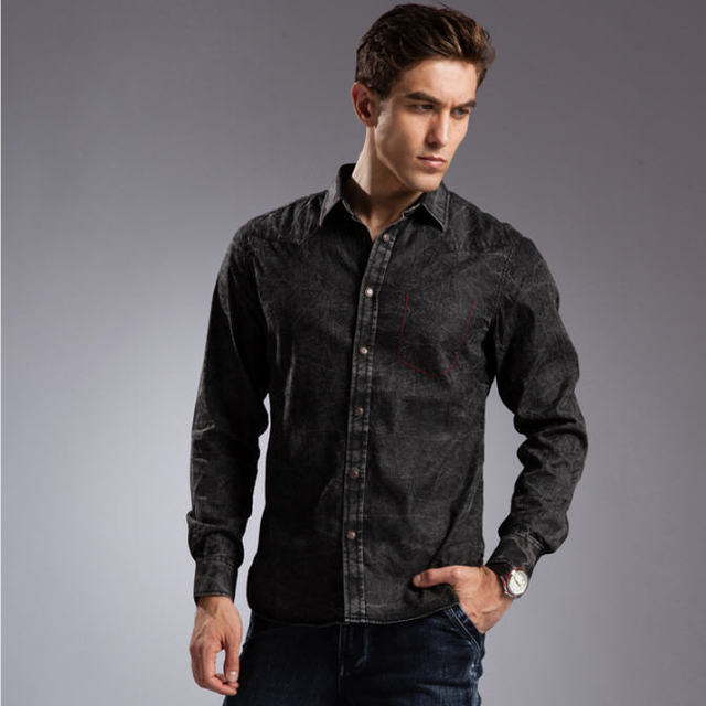 Buy blue denim shirt men 100 cotton Black shirt blue jeans