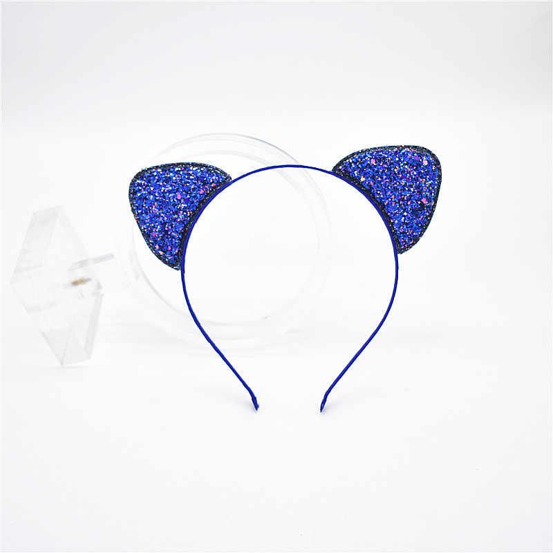 1 шт., новинка 2016 года, модная детская повязка на голову для ребенка с кошачьими ушками, повязка на голову для девочки, блестящие вечерние обручи для волос, аксессуары для детей