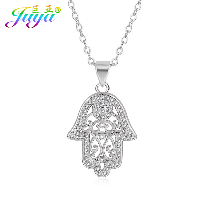 Fashion Pendant Necklace Women Micro Pave Zircon Hamsa Fatima Hand Suspension With Gold/Rose Gold/Silver Chains Pendant Necklace