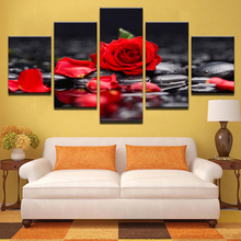 Canvas Paintings Home Decor Living Room Wall Art 5 Pieces Red Rose Flowers Pictures Modular Prints Stone Petal Poster Framework