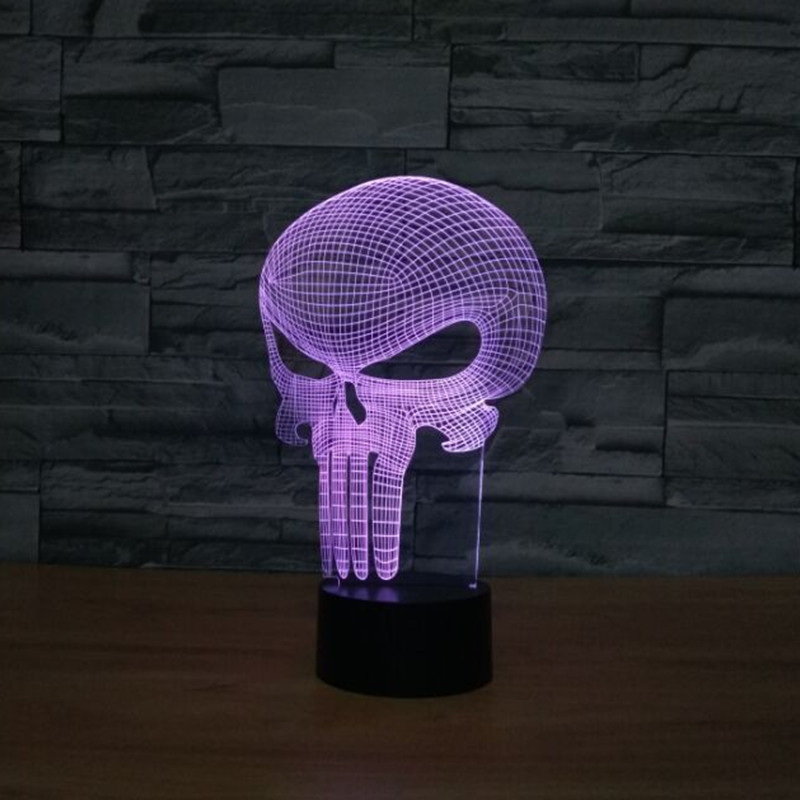3D Skull Glowing LED Touch sensor Desk Light 7 Color Changing Lighting Lamp Acrylic LED USB