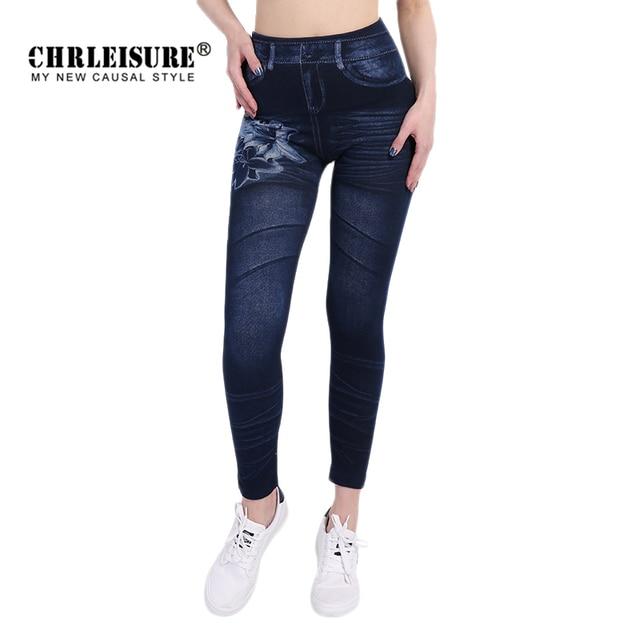 CHRLEISURE New Woman Fashion Jeans Print Denim Ankle-Length Polyester Jeans Mid Waist Spandex Straight Slim Jeans Women Leggings