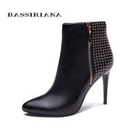 BASSIRIANA Sexy Women Boots Solid Flock Suede Zip High Heels Boots Lady Stiletto Pointed Toe Ankle