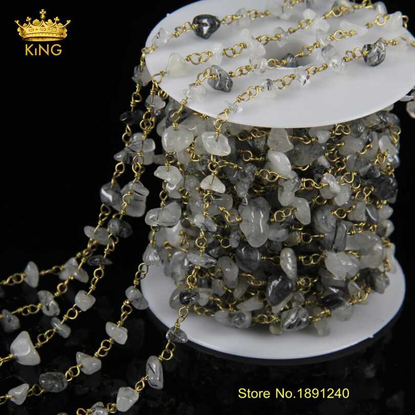 New Brass Hand Wired Black Rutilated Quartz Stone Nugget Chips Beads ...