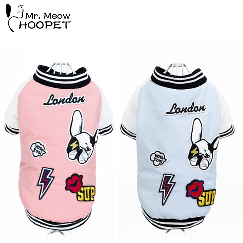 Hoopet Pet Coat Dog Jacket Spring Paste Hit Color Clothes Puppy Cat Sweater Coat Hoodie Clothing