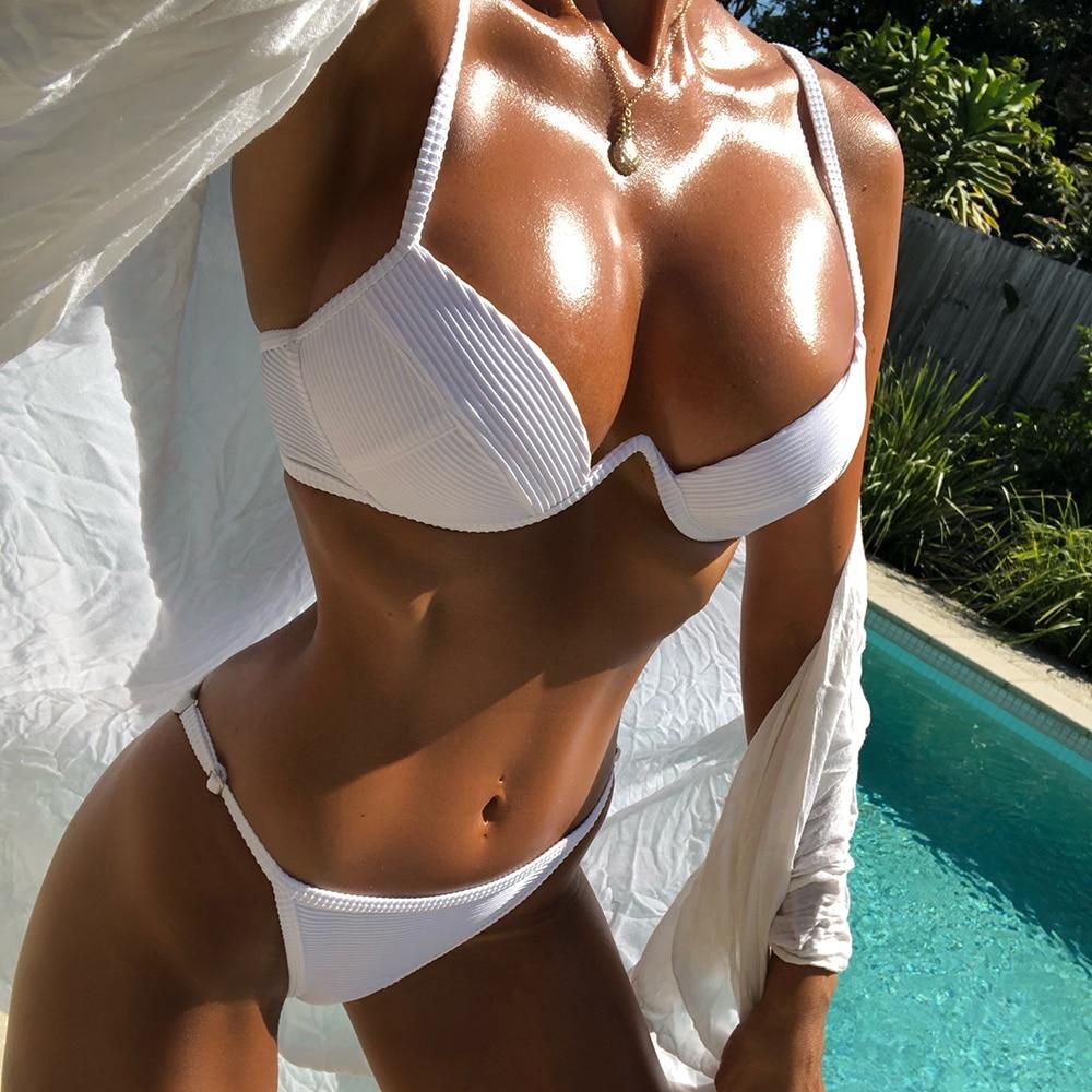 Sexy Micro Bikini Set Underwire Chest Bikini Women 2019 Ribbed Swimsuit White Swimwear Push Up Biquini Plus Size Bathing Suit