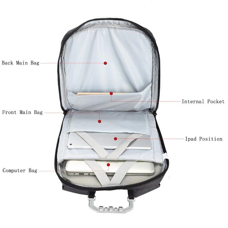 OZUKO 15.6 pouces sac à dos pour ordinateur portable hommes Anti-vol USB Charge sac à dos pour adolescent étanche voyage sac à dos homme sac d'école Mochila - 4