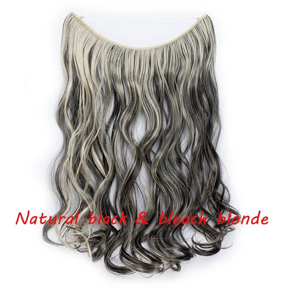 S-noilite 20 дюймов невидимый провод без заколки для волос Расширения секретная Рыбная линия шиньоны шелковистые прямые настоящие натуральные синтетические - Цвет: 2P613