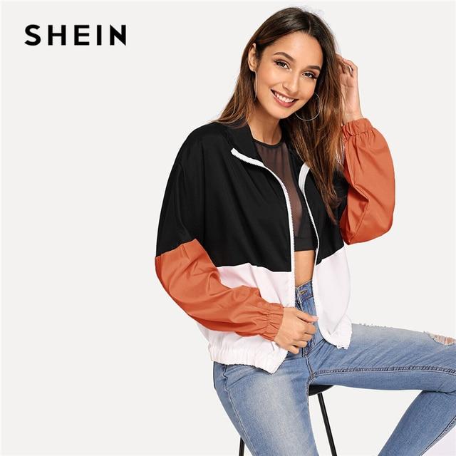 SHEIN Multicolor Elastic Hem Color Block Windbreaker Jacket Women Summer Autumn Long Sleeve Sporting Streetwear Outerwear Coats 6