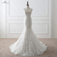 RSW1048 Sexy Low V Back Romantic Vintage Lace Mermaid Wedding Dresses