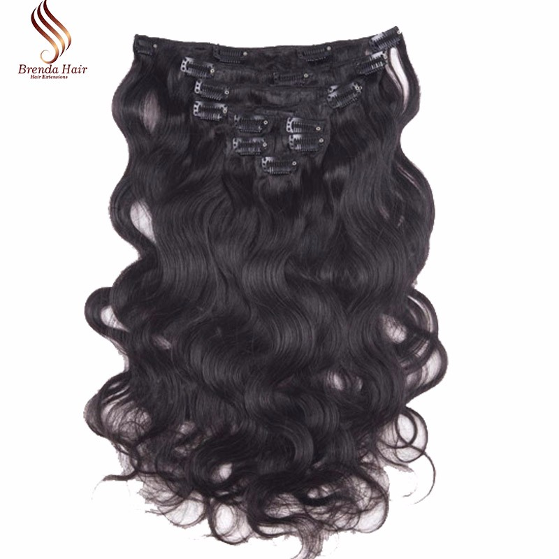 Wavy  Clip In Human Hair Extensions #1B Peruvian Human Hair Clip In Extensions African American Clip In Human Hair Extensions (2)