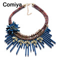 Comiya moda colares longos com corda cadeia de moda acrílico encantos pingente corrente de prata masculina mulheres colar gargantilha colares