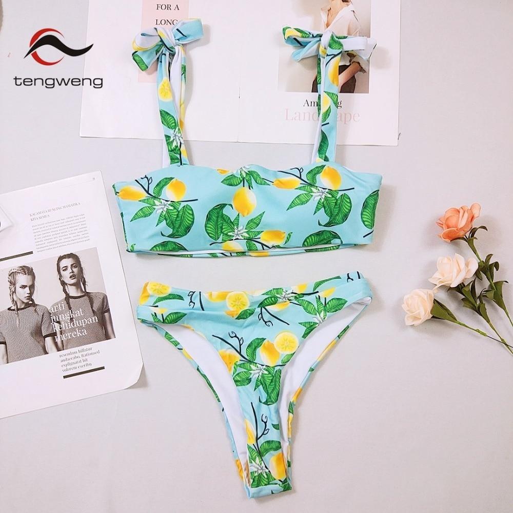 b726728465a81 Tengweng 2018 New Sexy Blue Lemon Print Bikini Women Large size Swimsuit  High waist Thong Swimwear Bandeau Female Bathing suit-in Bikinis Set from  Sports ...