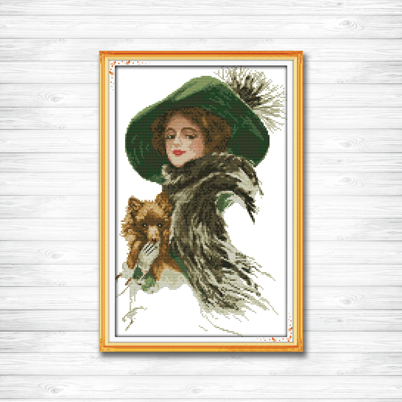 Lady With A Pet Noble Girl Dog Painting 11CT DMC Counted Printed On Canvas 14CT DMS Cross Stitch Embroidery Sets Needlework Kits