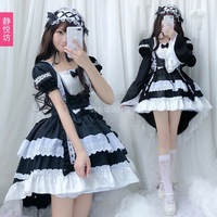 Free New Direct Selling Shipping 2019 Cosplay Black And White Maidservant Costume Dress Lolita Gothic Tuxedo