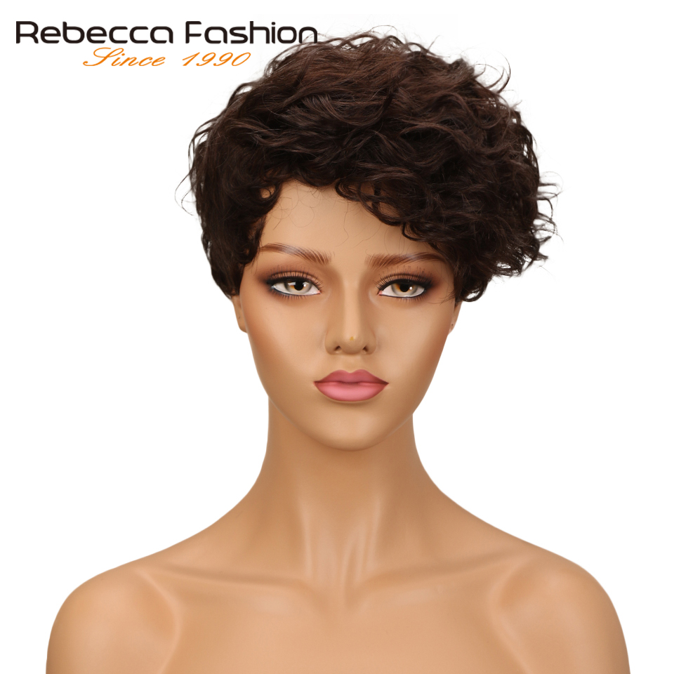 Rebecca Short Wavy Wig Brazilian Remy Human Hair Wigs For Black Women Mix Brown Red Wine Colored Free Shipping