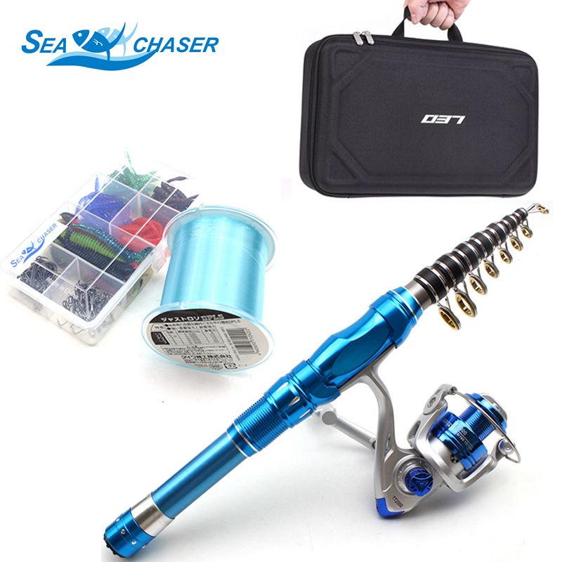 NEW Spinning Rod Set 1 5M 1 8M 2 1M blue Telescopic Fishing Rod and Spinning