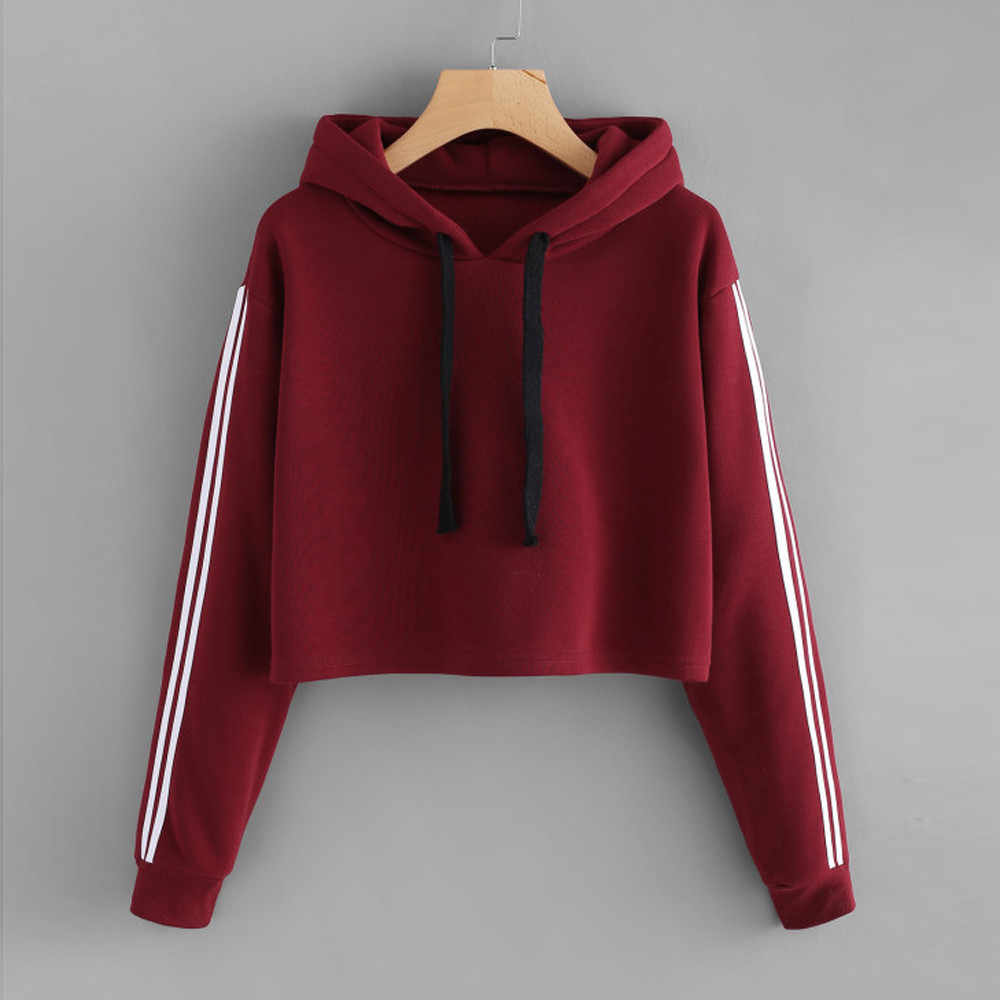Sweat-shirt Femme sweat à capuche court Automne Manches Longues Sweat Pull À Capuche Sweat-Shirts Recadrée hauts pullover sudadera mujer 2019