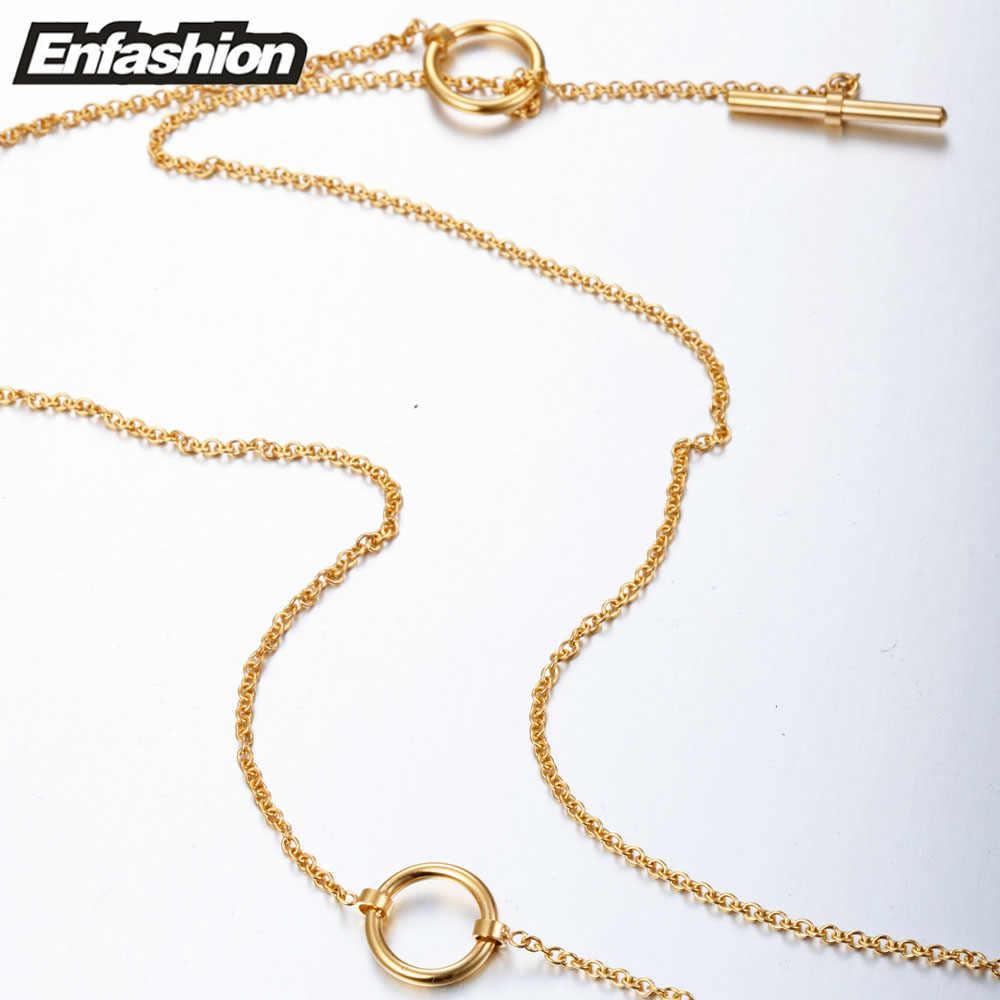 Enfashion klasyczny węzeł wisiorki naszyjniki ze stali nierdzewnej złoty choker naszyjnik dla kobiet długi łańcuch biżuteria Collier