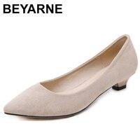 150016102 BEYARNE Women Low Heels Solid Basic Shoes Shallow Kitten Heel Faux Suede  Flock Pumps Slip On