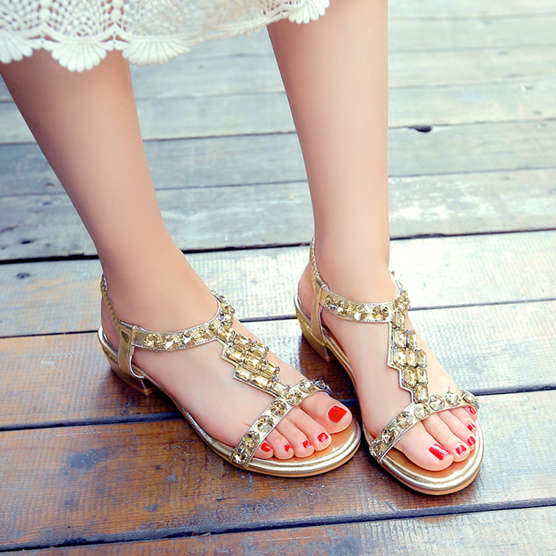 C508 Bling Plate Sexy forme Sandales Femme Mode Or argent Cristal Casual Or Nasipal Plage Nouveau Carré Talons Chaussures Gladiateur 2017 zYq88xwnt