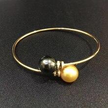 Real Diamond 18k gold tube Bangles bracelet for women girls Mum lover via 10-11mm Natural tahitian black & southsea gold pearls