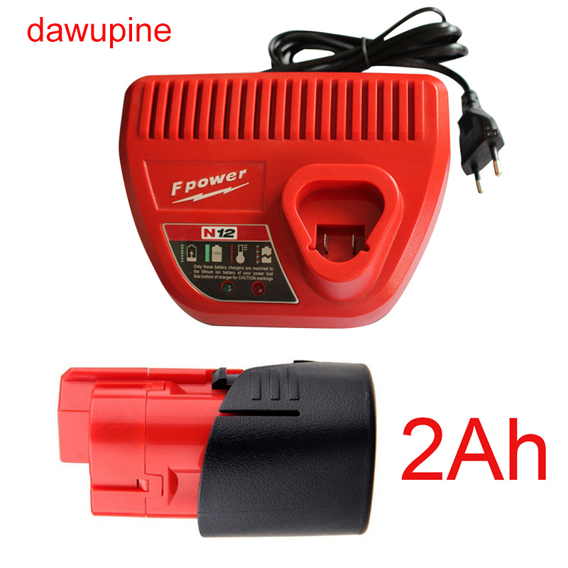 dawupine M12 2Ah Li-ion Battery N12 Charger For Milwaukee 10.8V 12V M12 48 - 11 - 24xx Series Lithium-ion Battery