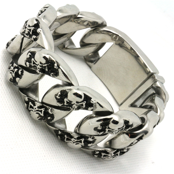 30mm 290g Huge Heavy Mens Boy 316L Stainless Steel Cool Pirate Skull Polishing Bracelet For Biker