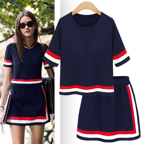 Vancol Brand Runway 2 Piece Set Women Soft Knitted O Neck Short Sleeve Tops Office Sets Summer Pencil Mini Bandage Skirt and Top